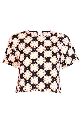 View Item Neon Orange Geometric Floral Textured Top